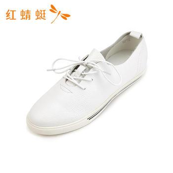 红蜻蜓女鞋春夏简约系带休闲平跟单鞋B83662