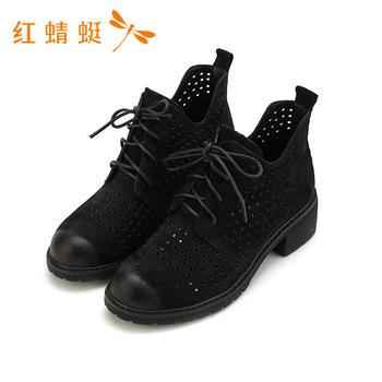 红蜻蜓正品新款女鞋高帮镂空休闲款舒适女鞋B87194