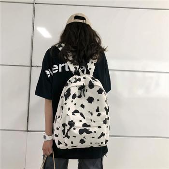 萨兰丹迪帆布书包韩国软妹时尚格子双肩包女学生背包