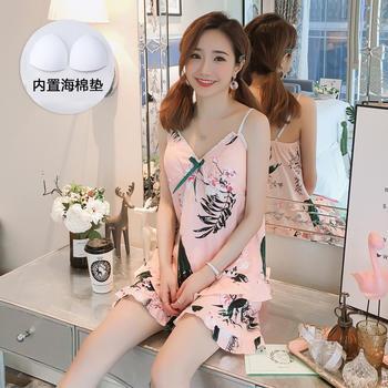 纪妍薇 性感花边吊带睡衣女夏季韩版家居服两件套装