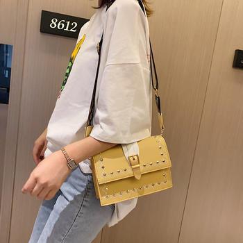 雅涵欧美时尚潮流女包单肩小方包个性铆钉斜挎包包
