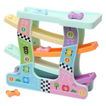 欧培 儿童益智玩具轨道滑翔车 四轨竞速惯性滑行汽车