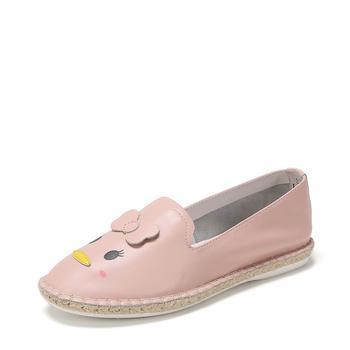 SHOEBOX/鞋柜春新款松松深口趣味图案牛皮鞋女1118101513