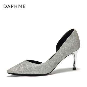 Daphne/达芙妮OL通勤侧空浅口高跟单鞋女1018102038