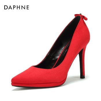 Daphne/达芙妮蝴蝶结浅口尖头单鞋女女1018101081
