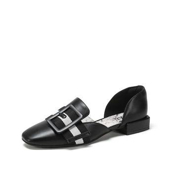 SHOEBOX/鞋柜大理石纹路条纹腰带扣低帮单鞋女1718202025