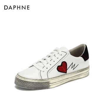 Daphne/达芙妮复古刺绣时尚印花简约街头板鞋1018404058