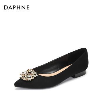 Daphne/达芙妮时尚尖头浅口时尚钻饰低跟单鞋女1018404050
