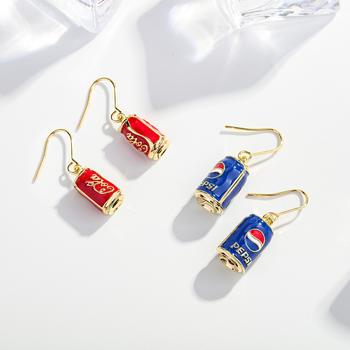 卡洛美 可樂拉罐耳環女創意趣味長款耳鉤個性潮耳墜