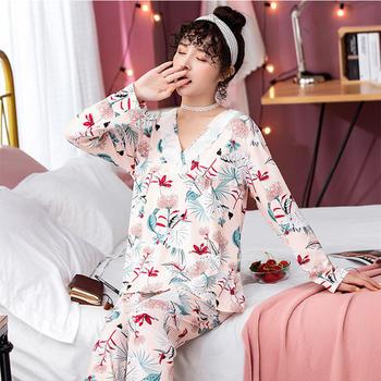 纪妍薇 韩版长袖女士睡衣套装性感花边家居服春秋款