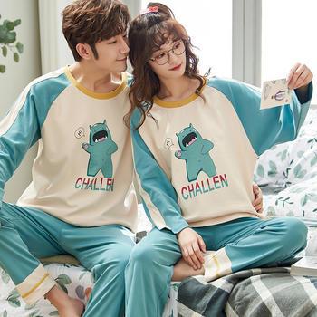 凯丝柔韩版可爱舒适情侣全棉男女士睡衣套装家居服