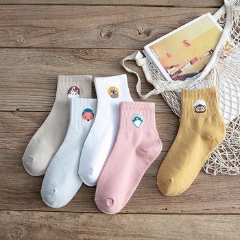 赛棉 5双装新款袜子女动物卡通中筒袜 韩版学院风棉袜
