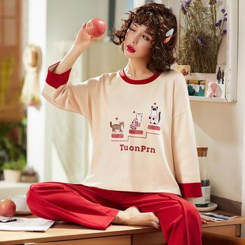 韩版 舒适棉质少女睡衣套装长袖休闲家居服秋冬外穿