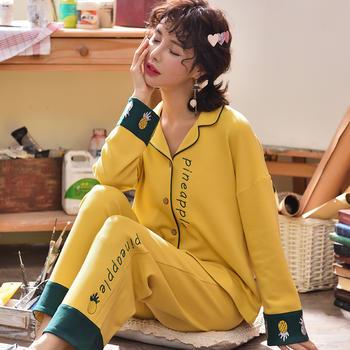 韩版 秋冬女士睡衣套装菠萝字母开衫长袖棉质家居服