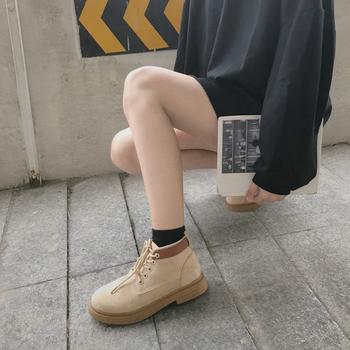 蝶恋霏冬季新款韩版时尚百搭平底系带马丁靴
