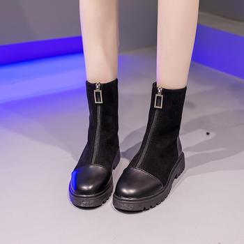蝶恋霏冬季新款韩版潮流拼接厚底平底马丁靴