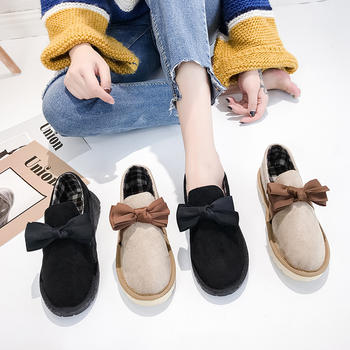 蝶恋霏冬季新款韩版甜美蝴蝶结百搭平底舒适深口单鞋