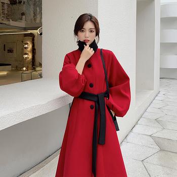 赫本风呢子大衣女中长款韩版修身很仙的森女毛呢外套