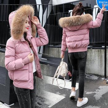 HYLS 冬季连帽拉链长袖加厚短款修身真貉子毛棉衣外套