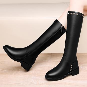 真皮不过膝长靴加绒百搭长筒靴女
