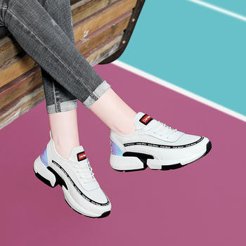 古奇天伦女厚底运动鞋新款小白鞋