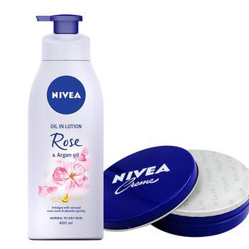 妮维雅精华油润肤露玫瑰香氛 润肤霜蓝罐装