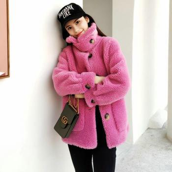 真毛皮草外套女羊剪绒中长款长安娜款颗粒羊羔毛大衣