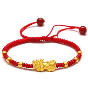阿梵尼 黄金手链貔貅转运珠本命年红绳手链路路通3D硬