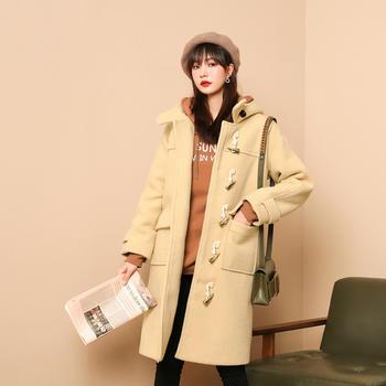 七格格毛呢外套中长款女2019新款冬季韩版连帽牛角扣