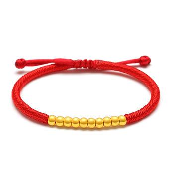 阿梵尼  足金黄金转运珠手链女 本命年红绳 十全十美
