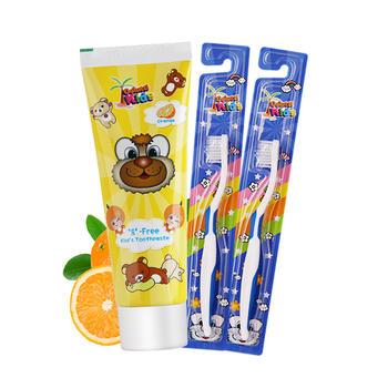 韩国进口德露宝儿童牙膏香橙味60g+送2支儿童牙刷