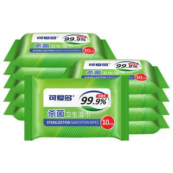 可爱多 99.9%杀菌率杀菌卫生湿巾10抽*10包