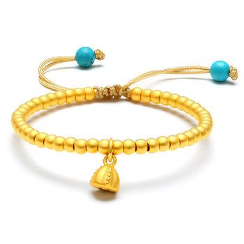 阿梵尼  黄金手链女士 转运珠圆珠黄金手串 莲花手链