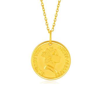 阿梵尼  黄金999吊坠足金圆形英女王头像挂坠3D硬金金币项链女