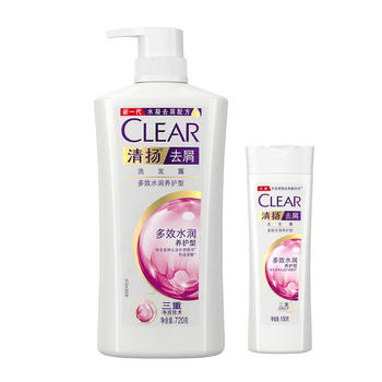 清扬去屑洗发露多效水润养护型白瓶720g+100g