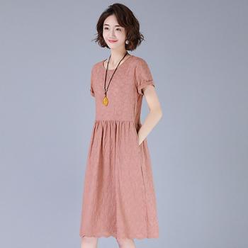 纯棉短袖连衣裙女中长款韩版气质女神套头圆领长过膝