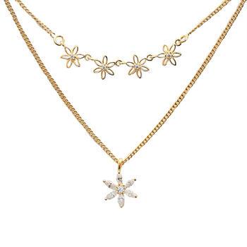S925纯银轻奢锆石花朵双层锁骨链时尚项链