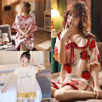 【限时46元2套/66元3套】韩版棉质短袖睡衣睡裙家居服套装多款可选