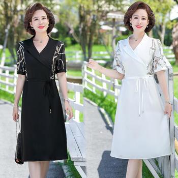 2021简约时尚新款夏季连衣裙显瘦大方女士短袖裙子